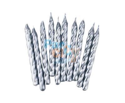 VELA CUMPLE PLATEADA x10