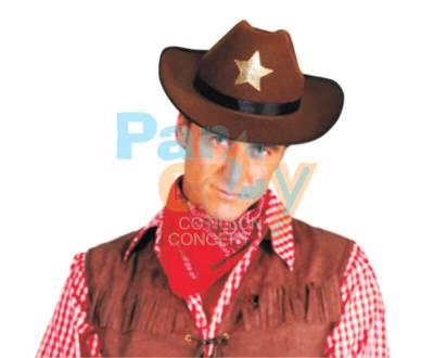 SOMBRERO SHERIFF MARRON CON ESTRELLA